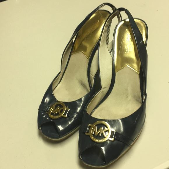 Michael Kors Shoes - Navy Wedged slingbacks